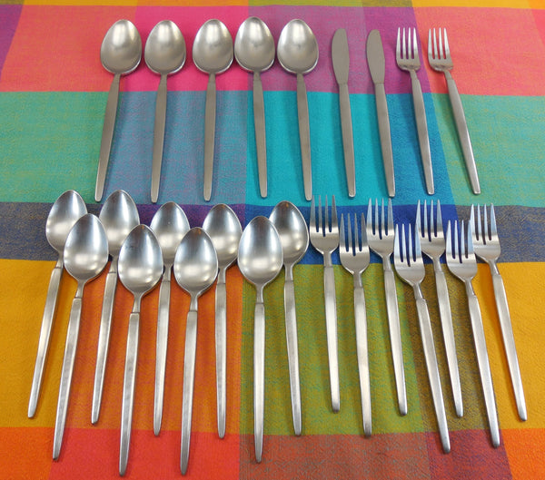 SOLD.... Stanley Roberts ASTRO - Japan Stainless Flatware - 25 Pieces - Mid Century Modern