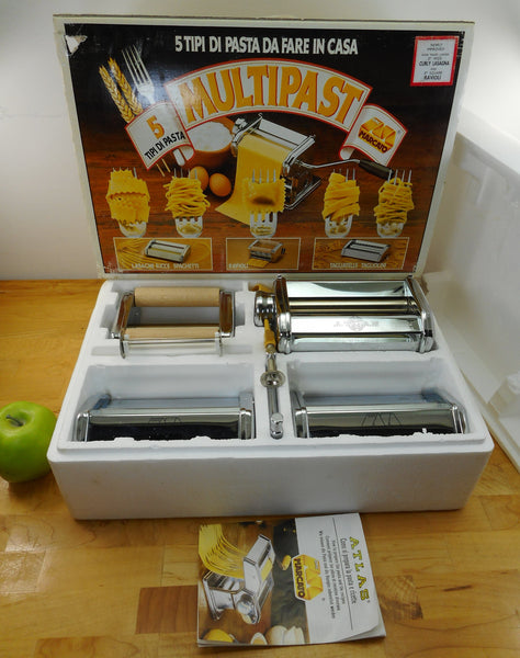 Atlas Marcado Italy - 1994 Unused Multipast Manual 5 Pasta Maker Set in Box