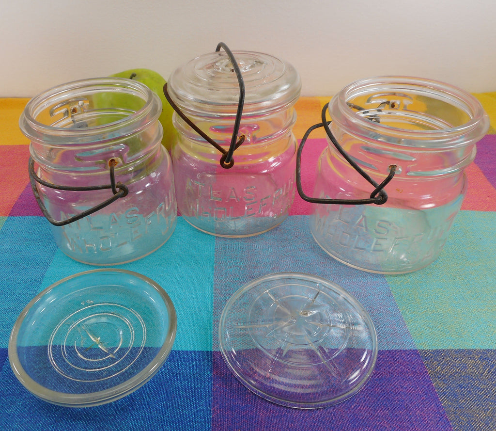 Atlas Whole Fruit Canning Jar Clear Pint Glass Lid Bail Top - Set of 3