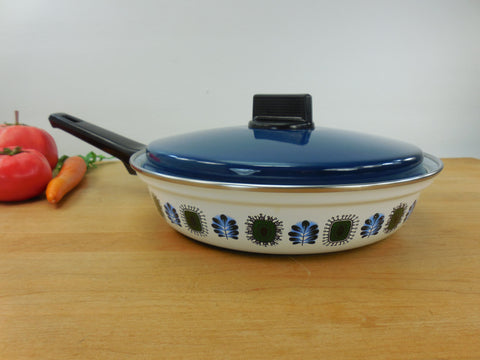 "Austria Email UNIVERSAL Enamelware Cookware 8"" Skillet - Mod Mid Century Blue Green White"