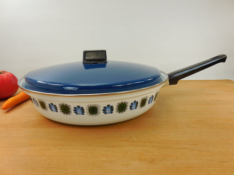"Austria Email UNIVERSAL Enamelware Cookware 11"" Skillet - Mod Mid Century Blue Green White"