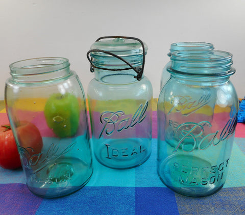 Ball Mason 4 Fruit canning Jars Blue Glass - Perfect Ideal Wire Bail 1 Quart