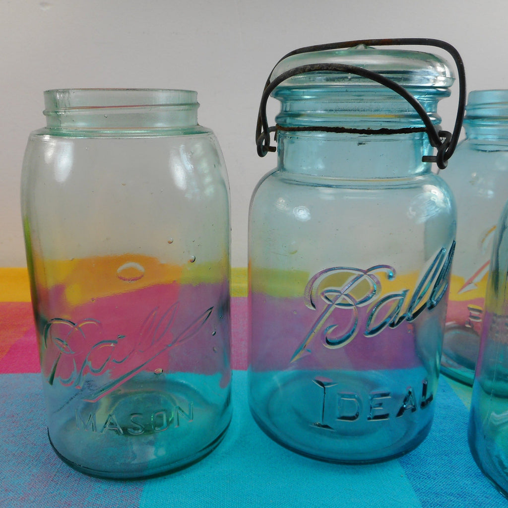 Ball Mason 4 Fruit canning Jars Blue Glass - Perfect Ideal Wire Bail 1 Quart Old