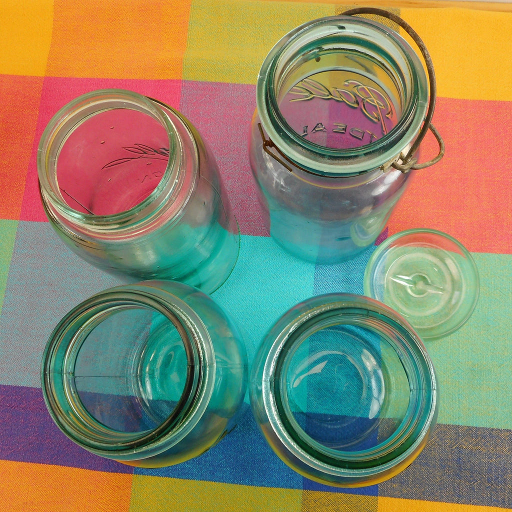 Ball Mason 4 Fruit Canning Jars Blue Glass - Perfect Ideal Wire Bail 1 Quart Top View