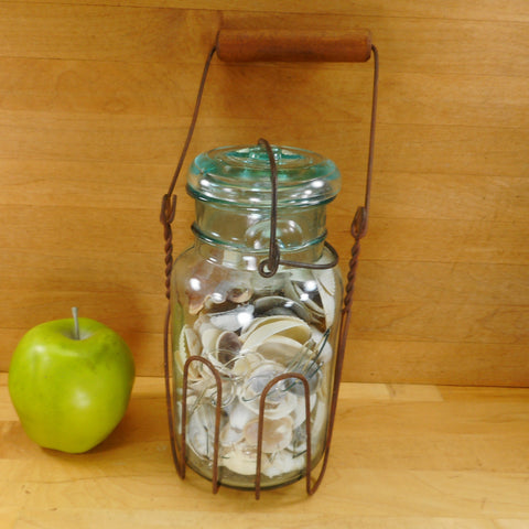 Ball Mason Fruit Canning Jar Blue Glass 1908 - Wire Wood Handle Caddy Carrier - Seashells