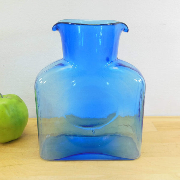 Blenko Art Glass Water Bottle Jug Carafe Light Blue 2 Spout