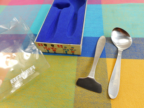 Bauer Denmark MCM Stainless Baby Spoon Fork Set Boxed Elephant - Danish Modern