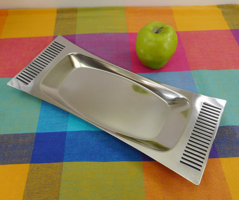 B&B Sweden Stainless Steel Black Bar Stripe Serving Tray MCM Vintage