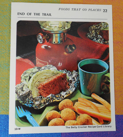 General Mills Betty Crocker 1971 Recipe Card - Coleman Red 200A Lantern - Foods That Go Places