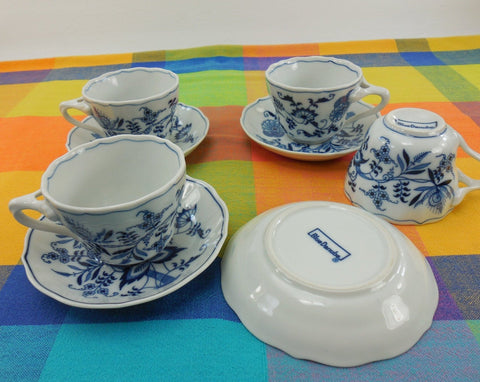 Blue Danube China Japan - 4 Set Cups and Saucers - Block Mark