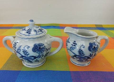 Blue Danube China Japan - Sugar Creamer Set - Ribbon Banner Mark