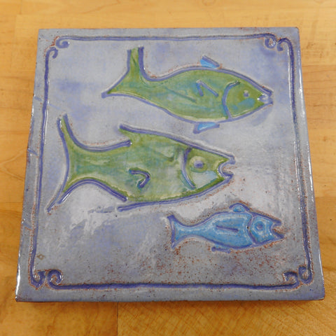Belfast Bay Tile Works Hand Made Pottery Tile Trivet - Blue Green Fish