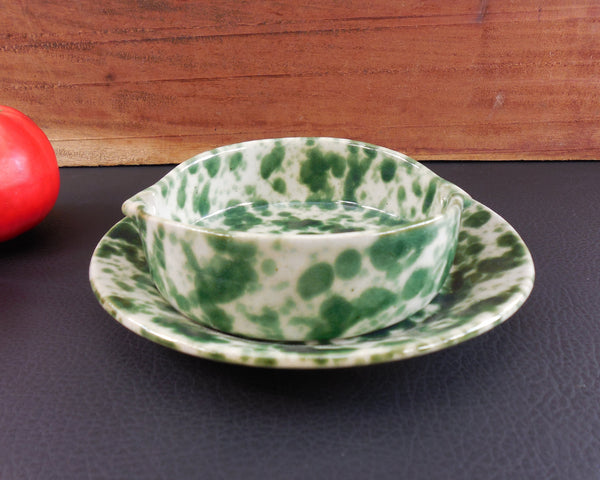 SOLD... Bennington Potters Vermont - Pottery Stoneware - Green White Splatter Agate - Lug Bowl & Under Plate
