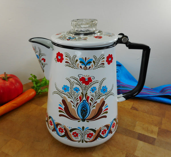 Berggren Enamelware Coffee Pot Percolator - Vintage Swedish Folk Art Floral