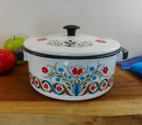 Berggren Enamelware 2 Quart Pot Dutch Oven and Lid - Vintage Swedish Folk Art Floral