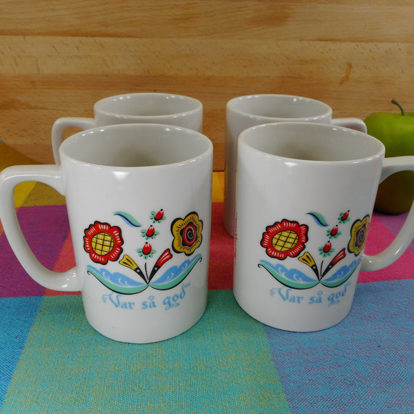"Berggren USA 4 Set Coffee Mugs Cups ""Var sa god"" - Vintage Swedish Folk Art Floral"