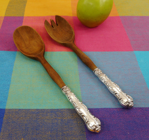 Birks Pompadour Sterling Silver Wood Salad Serving Set