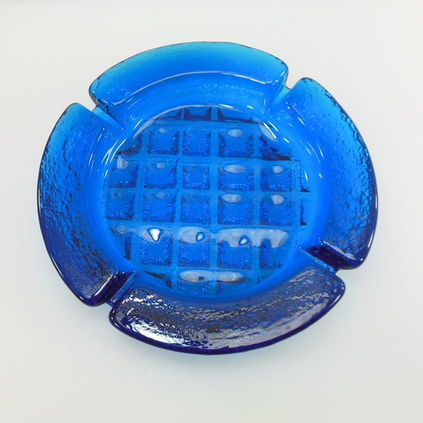 Blenko Glass 1969 Blue Turquoise Waffle Ashtray 697S