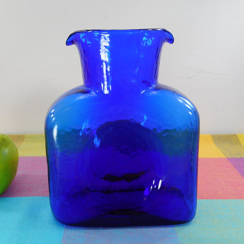 Blenko Art Glass Water Bottle Jug Carafe Textured Cobalt Blue 2 Spout