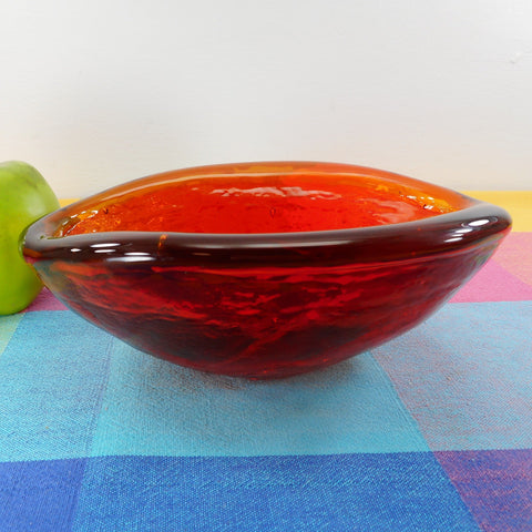 "Blenko Glass 8"" Freeform Tangerine Amberina Orange Bowl Dish Winslow Anderson Biophorphic"