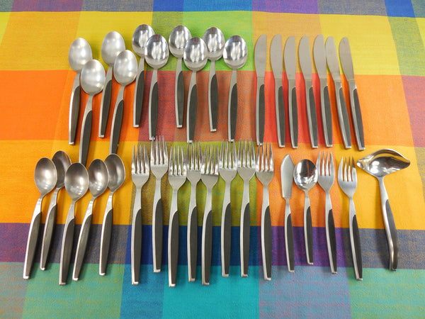 Modern Vintage Japan UNF108 Stainless Flatware - 35 Pieces - Black Composite Handle