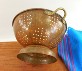 "Douro B&M Copper Brass Stainless 9"" Footed Colander Strainer - Vintage Kitchenware... side view"