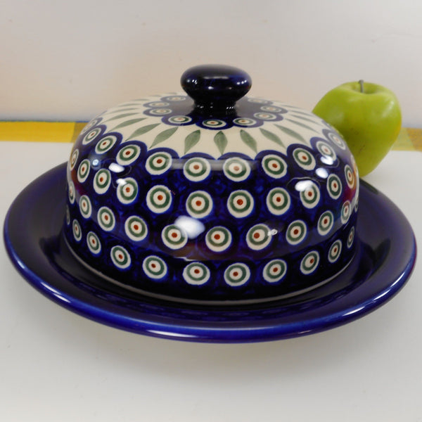 Boleslawiec Polish Pottery Cheese Butter Covered Dish- Blue Circles Leaves