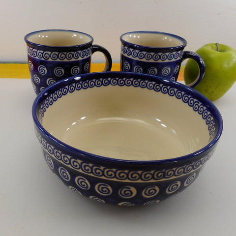 "Boleslawiec Polish Pottery 2 Mugs & 7"" Bowl - Blue Spiral Swirl"