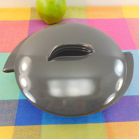 Boonton NJ USA Dark Grey Melamine Divided Lidded Serving Bowl MCM