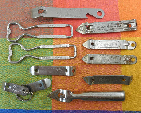 Bottle Can Opener Tapper Vintage 10 Lot - Soda Beer Advertising Ekco Quad-Fold