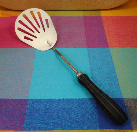 """BOYE"" Kitchen Utensil Spatula - 12.5"" Stainless Steel Black Wood Handle"