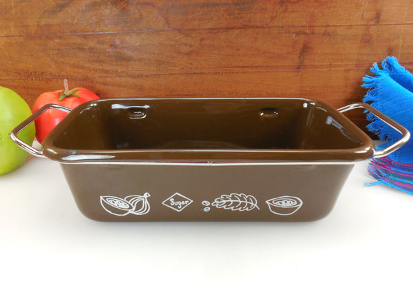 Cera-Met Mid Century Chocolate Brown Enamel Loaf Pan Bakeware - Chrome Handles