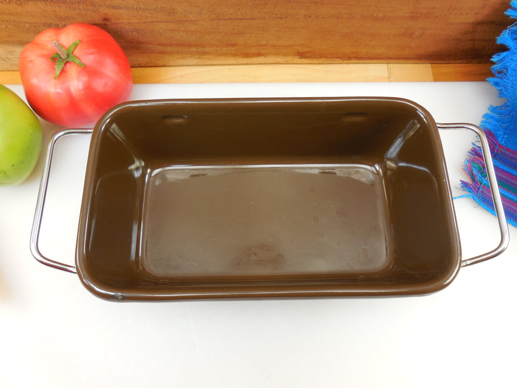 Cera-Met Mid Century Chocolate Brown Enamel Loaf Pan Bakeware - Chrome Handles... clean shiny