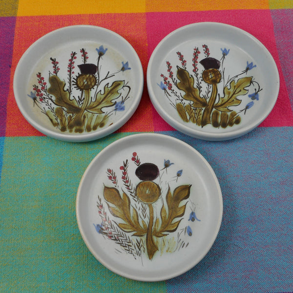 Buchan Stoneware Scotland Thistle Ware - 89 - Three Open Butter Pat Dishes 4""