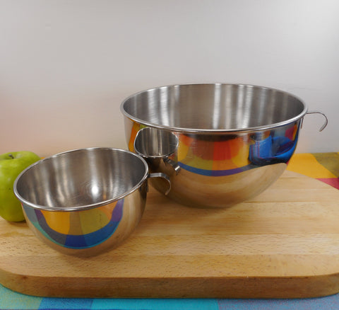 Buckeye Products Pair Vintage Stainless Mixing Bowls Mardigian Corp. Wooster, Ohio USA
