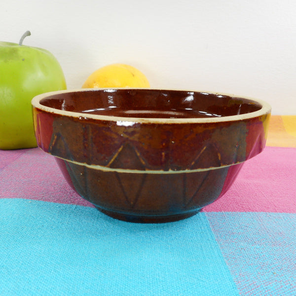 Antique USA Ovenware Yellow Ware Stoneware Brown Mixing Bowl 4.5""