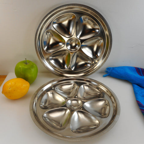Brand Ware Japan Pair 18-8 Stainless Oyster Plates - 6 Hole