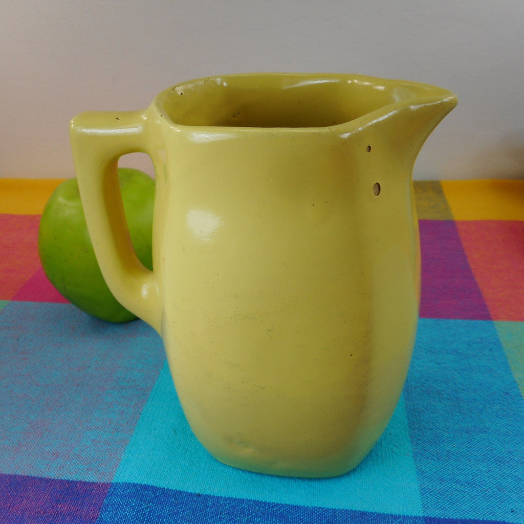 "Bybee Pottery Kentucky Vintage Yellow Flatsided Pitcher 6"" Stoneware Creamer"