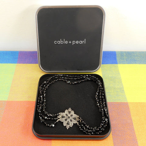 Cable + Pearl Boxed Necklace Sterling Silver Marcasite Black Faceted Beads