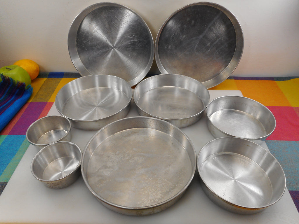 "Round Aluminum Cake Pan 9 Lot - Mirro Vitality Wear Ever Unbranded 3"" 5.5"" 7.5"" 8"" 9"" Vintage"
