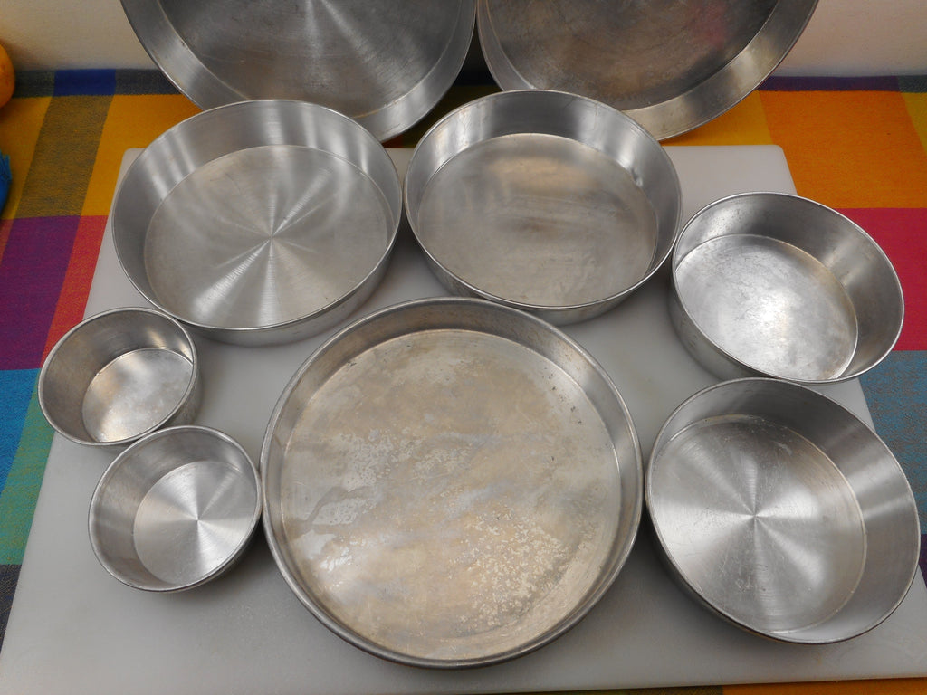 "Round Aluminum Cake Pan 9 Lot - Mirro Vitality Wear Ever Unbranded 3"" 5.5"" 7.5"" 8"" 9"" Used"