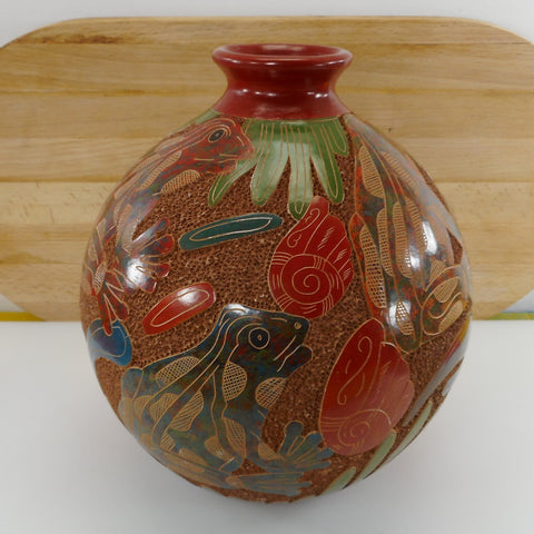 "Aleyda Cano Nicaragua Carved Frog 9"" Pottery Vase"