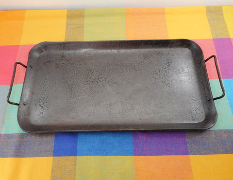 "Unbranded 1/8"" Thick Carbon Steel Double Griddle 9.5"" x 17.5"" Seasoned Used Camping BBQ Stove"