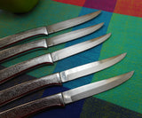 Carvel Hall USA 5 Steak Knives  Sharp Stainless Steel Textured Modern Handle Mid Century