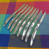 Carvel Hall 8 Steak Knives USA - Chrome Stainless Mid Century