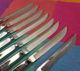 Carvel Hall 8 Steak Knives USA - Chrome Stainless Mid Century Sharp
