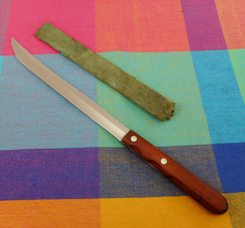 "Case XX USA Stainless Kitchen Knives -  Vintage CAP 116-8"" Slicing Carving Wood Handle"
