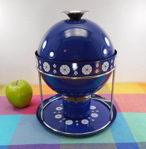 SOLD... Cathrineholm Norway Fondue Set Cobalt Blue Orb Ball with Stand Burner