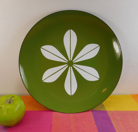"Cathrineholm Norway 12"" Charger Plate Avocado Green White Lotus"