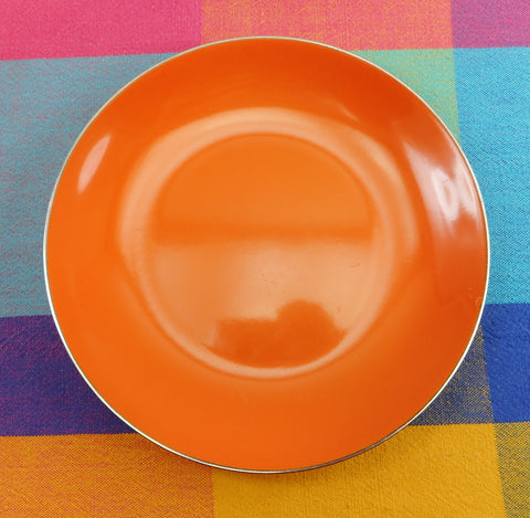 "Cathrineholm Norway Tangerine Orange Enamel Stainless Steel 7.5"" Plate"